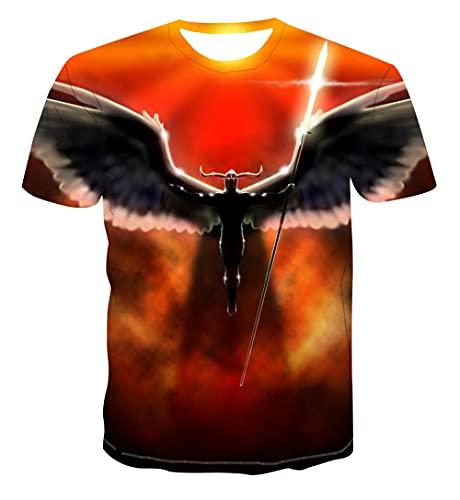 WTWE Unisex 3D Printed Kurzarm Engelscharakter Herren T Shirt Lustig Sommer 3D Gedruckt Männer Tops Kurzarm Rundhals Freizeit Bluse Mens Clothing-T12-3XL