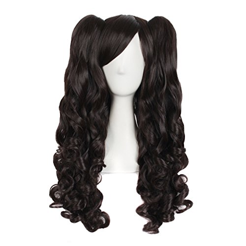 """MapofBeauty 28""""/70cm Lolita Long Curly Clip On Ponytails Cosplay Wig (Black Brownish)"""