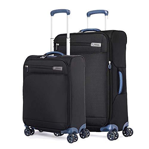 ABISTAB Verage Visionary 4 Doppelrollen Trolley Gepäck-Set 2 teilig S M mit Handgepäck-Koffer, erweiterbar, TSA-Schloss, Weichgepäck Reisekoffer Stoff wasserabweisend, Schwarz