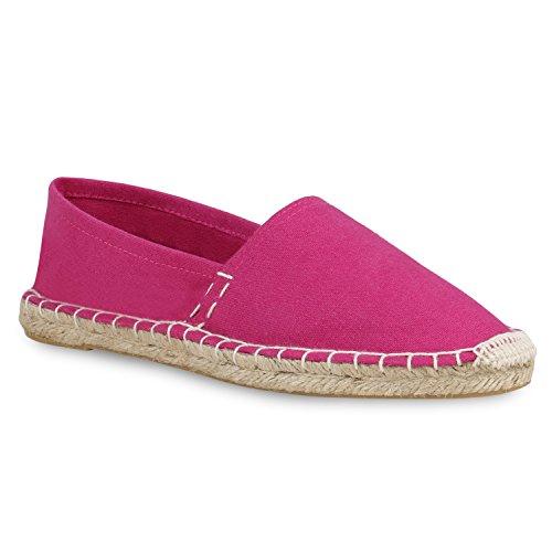 stiefelparadies Damen Slippers Espadrilles Bast Slip Ons Stoffschuhe Flats Schuhe 158689 Pink Bast 36 Flandell