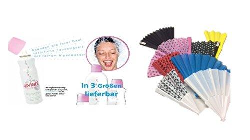 Evian Water Spray Trio 50 ml (Sprühnebel) + evian Brumisateur Facial Spray Gesichtsspray für die heißen Tage 3 x 50 + Windfächer groß