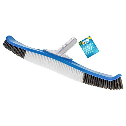 """U.S. Pool Supply Professional Heavy Duty 20"""" Flexible Floor & Wall Pool Brush with Polished Aluminum EZ Clip Handle - Curved Ends, Durable Nylon Bristles - Easily Sweep Algae from Walls, Floors, Steps"""