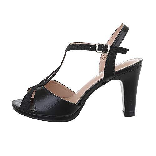 Ital-Design Damenschuhe Sandalen & Sandaletten High Heel Sandaletten, XQ55072-, Synthetik, Schwarz, Gr. 38
