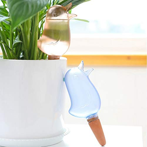 HSKB Automatisch Bewässerung, Bewässerungskugeln Set Wasserspender für Pflanzen Einstellbar Blumen Garten Spikes Terrasse Pflanzen Sprinkler Dosierte Bewässerung mit Wetterfeste Halterung (Blau)