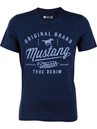 MUSTANG - Camiseta para hombre de cuello redondo, manga corta, con logotipo impreso, de algodón, de color negro, blanco, azul, gris, en las tallas S, M, L, XL, XXL, XXXL