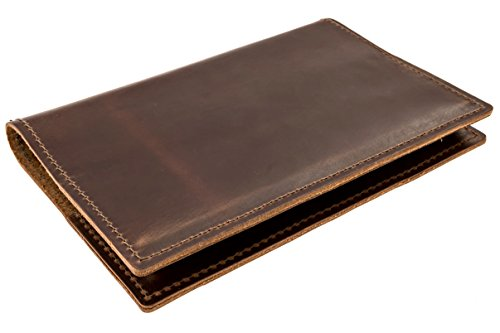 Thick Top Grain American Cowhide Leather Cover by DIY Indispensables for Included US Military Log Record Book 5-1/4 x 8 Inch NSN 7530-00-222-3521 Refillable Made in USA (Dark Brown Rustic)