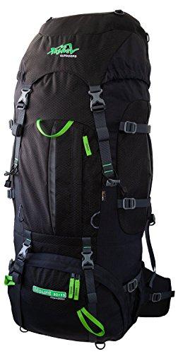 Tashev Outdoors Mount Trekkingrucksack Wanderrucksack Damen Herren Backpacker Rucksack groß 80l Plus 15l mit Regenschutz Schwarz & Grün (Hergestellt in EU)