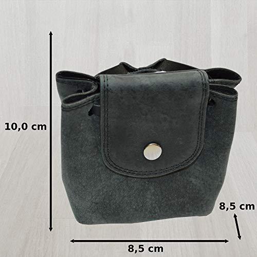 Lederbeutel Kleingeldtasche Mittelalterliche Geldbeutel aus Wildleder (schwarz) - 3