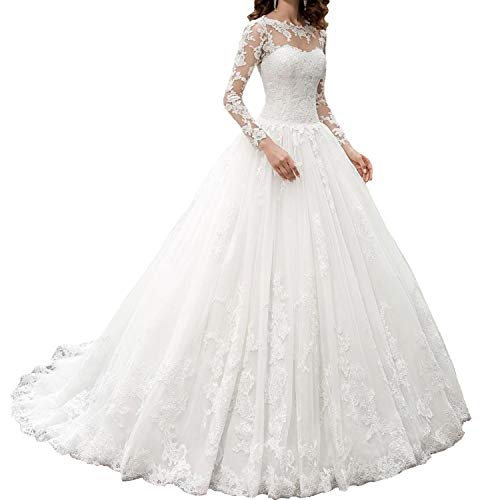 OWMAN New Women's Long Sleeves Scoop Lace Ball Gown Wedding Dress Bridal Gowns