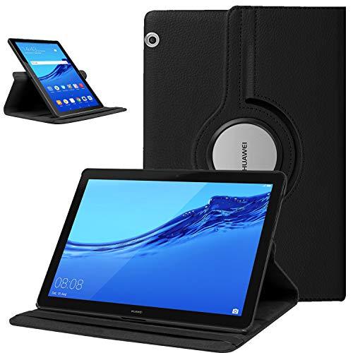 XunyLyee [360 Drehständer] Hülle für Huawei MediaPad T5 10, Premium Tablet Cover für Huawei MediaPad T5 2018 (10.1 Zoll) Hülle, Schwarz