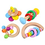 ZFRANC Wood Baby Rattle - 4 Pack Colorful Shake Barbell Educational Grasping Rattle Handbell Toy for 3 6 9 12...
