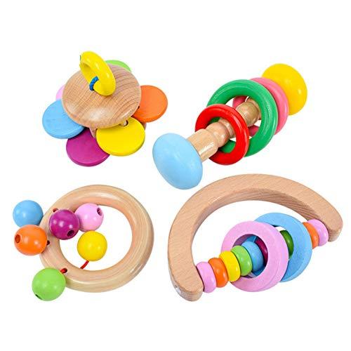 GREENSTORE 4 Stück Baby Rassel aus Holz, BPA-freie Beißringe, Bio-Baby-Greiflinge, 100% natürliches und sicheres Greifspielzeug