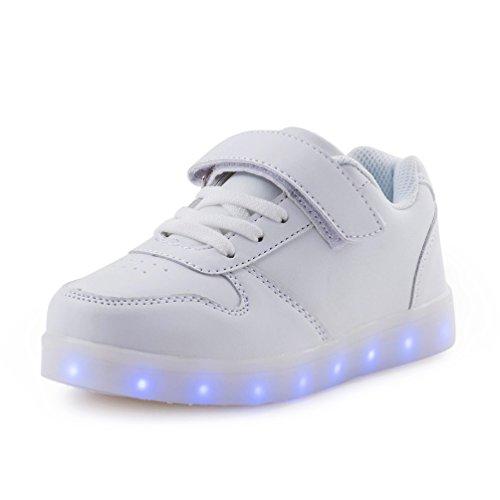 AFFINEST LED leuchtet Schuhe Sneakers mit USB einem Geschenk der Kinder Jungen Mädchen Weihnachten Neujahr (Weiß,25)