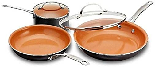 GOTHAM STEEL 5 Piece Kitchen Essentials Cookware Set with Ultra Nonstick Copper Surface Dishwasher Safe, Cool Touch Handles- Includes Fry Pans, Stock Pot, and Glass Lids, Original