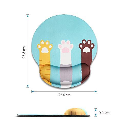 AOKSUNOVAマウスパッドリストレスト一体型手首クッション人間工学手首可愛い猫爪