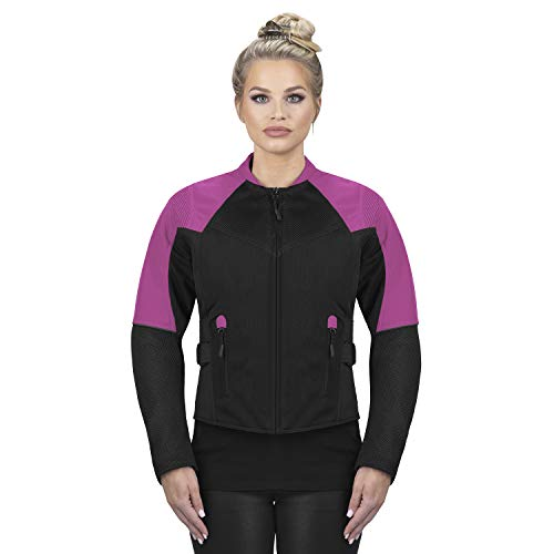 Viking Cycle Freedom Textile Motorcycle Jacket for Women - Waterproof, CE Armor, with Multi Pocket (Pink, X-Large)