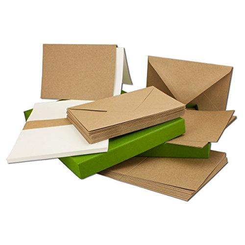 Vintage Kraftpapier-Karten Set mit Brief-Umschläge & Einlege-Blätter in Geschenkbox I 50 Sets I Blanko Recycling-Karten Natur-Braun I DIN A6 / C6