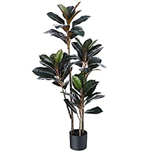 Silk Flower Arrangements Kazeila Artificial Rubber Tree,4 Feet Fake Ficus Plantwith 56 LeavesFaux Tropical Treefor Indoor Outdoor Home Office Any Room DecorPerfect Housewarming Gift