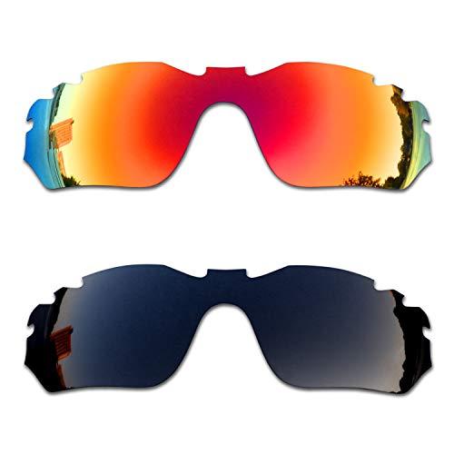 SOODASE Para Oakley Radar Edge Vented Gafas de sol Rojo/Negro 2 Pares Lentes de repuesto polarizadas