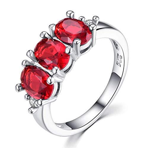 Zirkoon ring eivormige robijn ring ingelegd edelsteen damesmode eenvoudige paar ring geschikt voor huwelijkscadeau rood,No.6