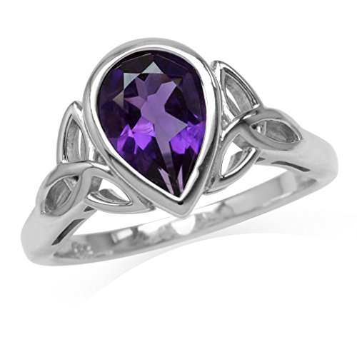 Silvershake 1.72ct. 10X7mm Natural Pear Shape African Amethyst 925 Sterling Silver Triquetra Celtic Knot Ring Size 10
