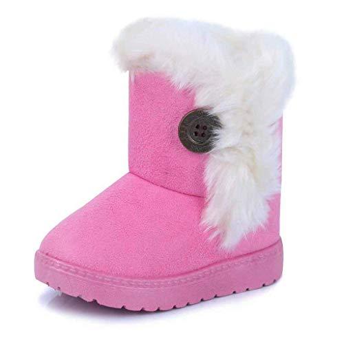 Gaatpot Baby Winterstiefel Jungen Mädchen Schneestiefel Warm gefütterte Schlupfstiefel Kinder Kurzschaft Winter Stiefel Boots Schuhe Rosa 28 EU = 29 CN