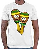 HARIZ Herren T-Shirt Rassel Lachend Instrument Kind Witizg Plus Geschenkkarte Weiß 3XL