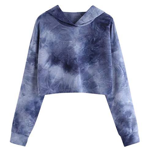 Hoodie Damen Pullover Damen Bunt Lässig Langärmliges Kurzes Oberteil All-Match Lässiges Langärmliges Süßes Und Elegantes Damen Sweatshirt Elegant Damen Casual Tops G-Blue(B) XL
