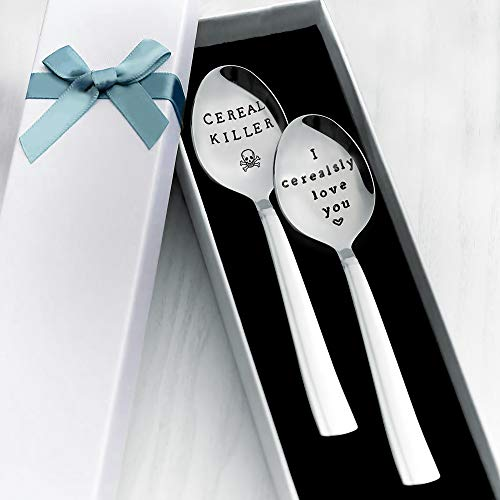 2 Pack Custom Made Stamped Spoon- Cereal Killer and I Cerealsly Love You Cereal Spoon