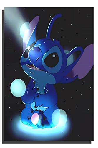 Lilo and Stitch Movie Poster Stitch Art Poster Wall Art for Kitchen Wall Decor Bathroom Bedroom Decor Prints Canvas Wall Art 18x24 inch