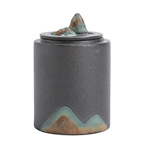 Mendingkunshop Kaffee- und Teedosen Tee-Lagertank Teedose Handbemalte Teedose Mit Bergblick Teedose Aus Schwarzer Keramik Teedose Im Wohnzimmer Teestube (Color : Gray, Size : 2.6 * 3.9 inch)