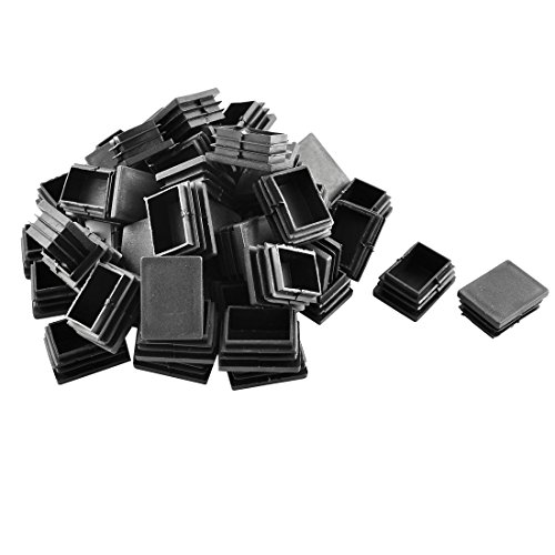 Sourcingmap Plastique Rectangle Tube Tuyau Inserts Fin Blanking Cap 30 mm x 40 mm 50 pcs Noir