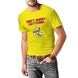 Don't Worry Futtitinni - Camiseta Hombre - 100% Algodón (XL, Amarillo)