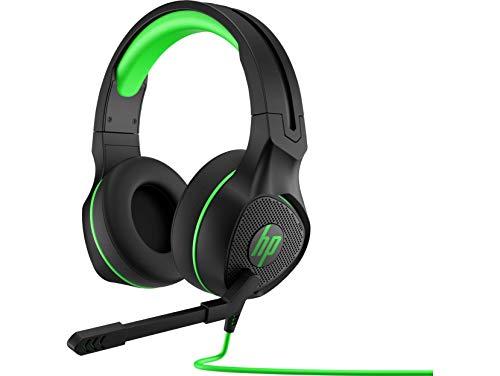 HP Pavilion 400 - Auriculares Gaming con micrófono (Sonido estéreo, Controles Integrados en el Cable, Conector analógico de 3.5 mm) Negro y Verde