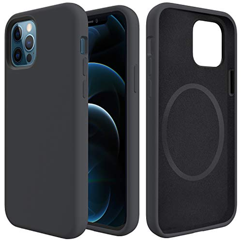 Sharks Box Designed for iPhone 12 Pro Max Liquid Silicone Case Compatible with MagSafe Wireless Charger 2.2MM Enhanced Full Body Protective Phone Case with Microfiber for iPhone 12 Pro Max (Black)