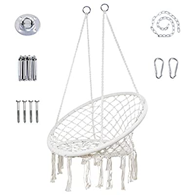 YRYM HT Macrame Swing Chair - Max 330 LBS Hanging Macrame Chair with Durable Hanging Hardware Kit, Indoor & Outdoor Hammock Chair Macrame Swing for Patio, Bedrooms, Porch, Deck, Yard, Garden