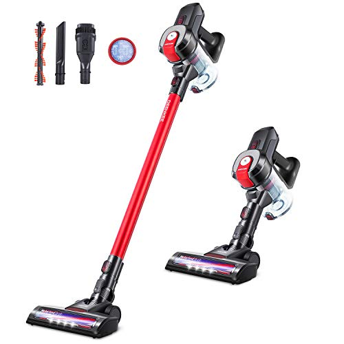 DEENKEE Cordless Vacuum Cleaner, 6 in 1 Cordless Stick Vacuum with 250W 18Kpa Powerful Suction, 35Min Runtime & 2 Modes, Lightweight Stick Vacuum Cleaner for Hard Floor Carpet Car Pet Hair (Red)