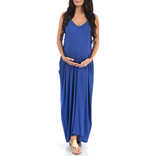 Mother Bee VNeck Cami Maternity Maxi Dress with Adjustable Straps by Rags and Couture