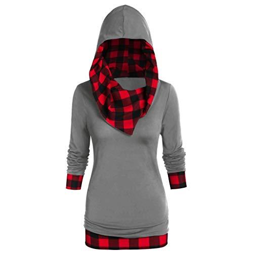 AKAIDE Damen Hoodies Casual Langarm Pullover Übergröße Plaid Sweatshirts Kapuzenpullover Mode Tops Baseball Hoodie Taschen T-Shirt Bluse Damen Pullover Weihnachten Gr. 54, grau