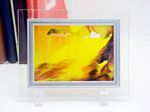 PROW® 3D Dynamique Vision Peinture de Sable, Profond Mer Amende Le Sable Sables Mouvants avec Verre Cadre 2 Plastique Stent Bureau Le Sable Art Paysage de Sable Déplacer Sable Image, Orange