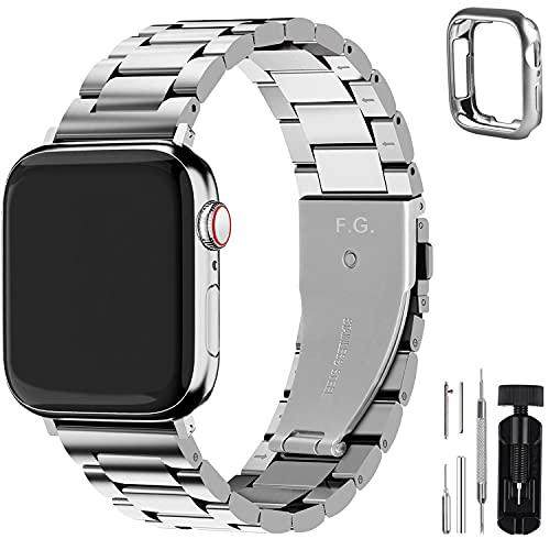 Fullmosa Cinturino per Apple Watch 42mm/44mm, Cinturino in Acciaio Inossidabile Compatibile con iWatch, Cinturini per Apple Watch Serie 6 5 4 3 2 1, Apple Watch SE, per Donna e Uomo, Argento