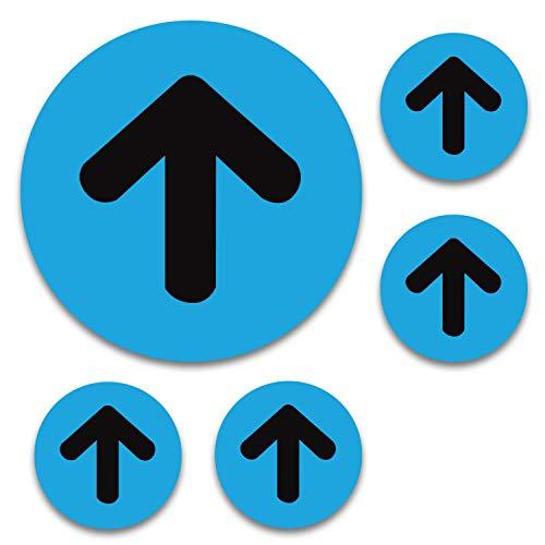 Commercial Quality - 5 Pack 10' Directional Arrow Floor Decals - One Way Social Distancing Floor Stickers - Waterproof Anti-slip Floor Arrow Sign - Blue/Black