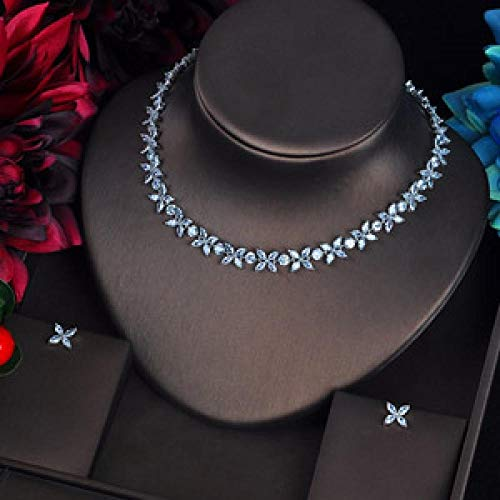 FWJSDPZ Conjuntos De Joyería Nupcial De Forma De Estrella Romántica Conjuntos De Mujer Zirocnia Cúbica Collar De Piedra De Joyería (Color : Platinum Plated)