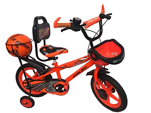 """Rising India 14"""" Sports Kids Bicycle for 3-5 Years with Full Chain Cover and Football Semi Assembled (Orange)"""