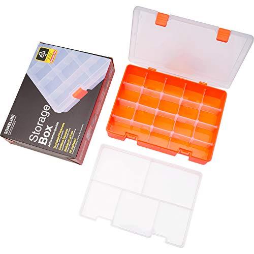 SOMELINE Sortierboxen Schmuckkasten mit Anpassbaren Fächer Werkzeugkiste Sortimentskasten für Schrauben Muttern Kleinteile Schmuck Ohrringe Doppelschicht Box mit Klappdeckel 23 Gitter Orange