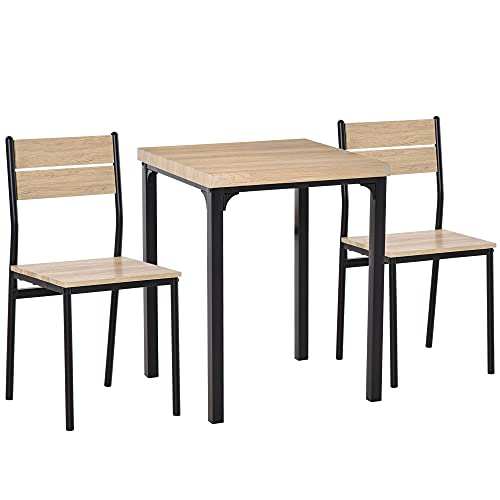 HOMCOM 3 Pieces Compact Dining Table 2 Chairs Set Wooden Metal Legs Bistro cafe Kitchen Breakfast Bar Home Furniture