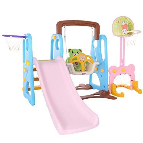 5 in 1 Kids Indoor and Outdoor Slide Swing and Basketball Football Baseball Set,Kids Playset For Backyard And Indoor,Baby Multi-function Slide,Sliding Swing Combination( Suitable for: 3-9 years old)