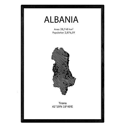 Poster uit Albanië. Bladeren uit landen en continenten. A3-formaat