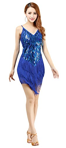 BellyQueen Femme Robe Danse Vintage Robe à Frange Tassel Robe Danse Salsa Latine Zumba Ballroom pour Déguisement Charleston Soirée Bleu