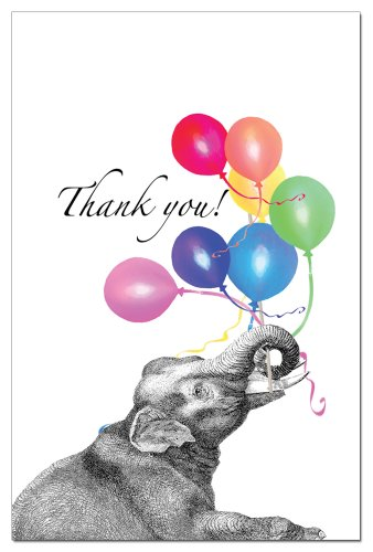 Tree-Free Greetings 94598 ECOnotes Thank You Card Set, 4 x 6 Inches, 12 Count Cards with Envelopes, Balloon Elephant